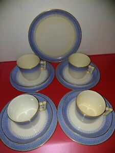 Antique (1894) Royal Worcester Trios Large (8cm) cups Bamboo Style Blue White