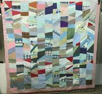 """Vintage Cotton Quilt Hand Made USA 68"""" x 76"""" Multi Color Patchwork with Boarder"""