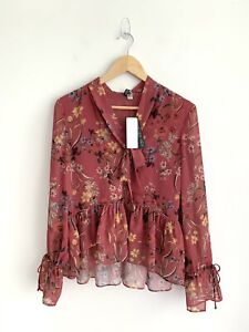 BNWT Forever New Paula Floral Pussy Bow Long Sleeve Top Size 12 RRP$80