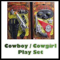 Cowboy Cowgirl Fancy Dress Toy Pistol Gun  Holster  Bullets Badge Costume Set