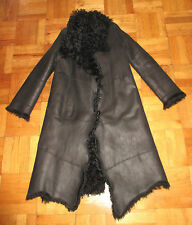 PLEIN SUD JEANS LONG BLACK SHEARLING LAMB FUR ASYMMETRICAL COAT 40/8