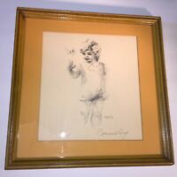 Vintage Butterfly Boy Lithograph by Connie King, Signed Numbered Limited Edition
