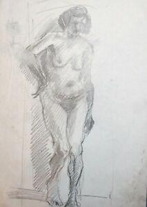 Vintage pencil painting expressionist nude woman portrait