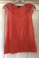 Topshop Orange Top With Lace Sleeves, Size 14 - Lovely!