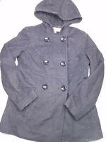 Anne Klein Women's Size Small Hooded Wool blend Pea Coat Jacket grey HU