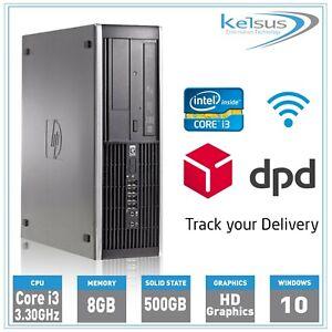 Cheap HP Office PC Core i3 3.30GHz 8GB RAM 500GB HDD Windows 10 SFF Computer