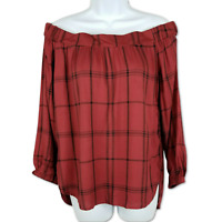 Seven Sisters Blouse Off-the-Shoulder Red Plaid 3/4 Sleeve Peasant Top Size XS