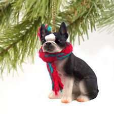 BOSTON TERRIER DOG CHRISTMAS ORNAMENT HOLIDAY XMAS Figurine Scarf  gift