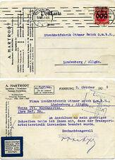 Cartolina EF inflazione inaspri fa. hartrodt Amburgo a fa. Reich Lindenberg o 1923