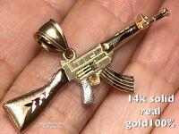 GOLD 14k Gun Pendant Ak47 Rifle Machine weapon Yellow White Rose Tri charm