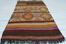 "Vintage Turkish Small Kilim Doormat Bathmat Decor Wool Rugs Carpet Tapis 37""X60"""