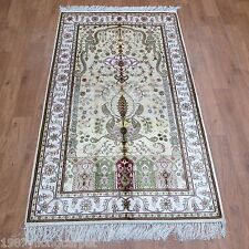 Yilong 3'x5' Kashmir Vintage Handmade Carpets Prayer Hand Knotted Silk Area Rugs