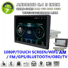 """9"""" DIN 1 cuatro núcleos Android 8.1 radio estéreo de coche GPS WIFI 3G 4G Enlace Espejo"""