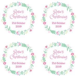 48 Round Personalised Christening Baptism Stickers - Flower Labels 63.5mm