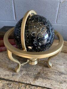 Vintage celestial globe night sky constellation brass stand gemstone LARGE