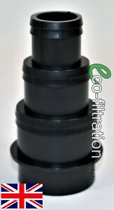 50MM 3 STEPPED BLACK SOLVENT WELD HOSETAIL KOI FISH POND PIPE FILTER FITTING