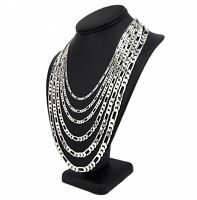 14k Italian Figaro Link Chain Necklace White Gold Plated