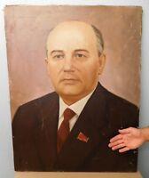 Original Soviet Russian Oil painting Realism Portrait of Mikhail Gorbachev 1980s