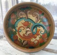 Signed 1977 Norwegian Rosemaling Hand Painted Wood Bowl - Folk Art Scandinavian