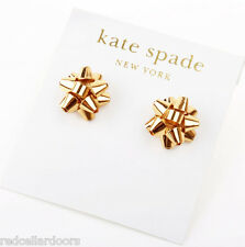 Auth New KATE SPADE New York Bourgeois Bow Studs 12k Gold Earrings Rare Sold Out