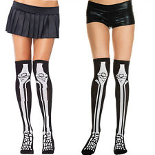 Black Thigh High Acrylic Stockings White Leg Bone Skeleton Design Womens Costume