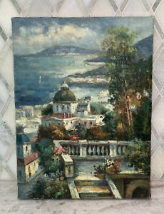 "Vintage OOC European Coastal Landscape Town Oil Canvas 12"" X 16"" McMasters"