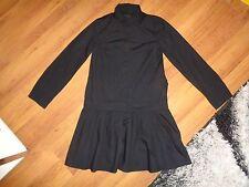 COS BLACK COTTON POPLIN DROP WAIST PLEATED PANELED RELAXED SHIRT DRESS-XS,6-UK