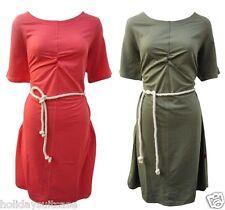 Ladies womans cotton stretch jersey beach cover up dress w belt size 12-26 UK