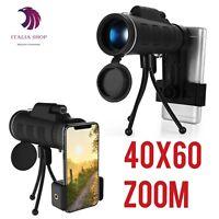 Obiettivo Zoom 40X60 Ottico Monoculare Telescopio Clip  Treppiede per smartphone
