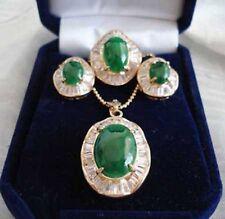 Emerald Green Jade 18KGP Cubic Zirconia Pendant Necklace Earrings Ring Set