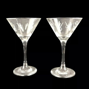 2 Art Deco Frosted Etched Glass Martini Cocktail Glasses Olives Shakers Pair 6""