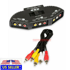 Black 3 Port AV Composite RCA Selector Box Switch Splitter w/ Cable Cord Plug US