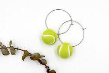 Tennis Ball Hoop Earrings - Novelty Fun Sports Earrings