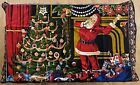 """Vintage 100% Cotton Tapestry Santa Gifts Christmas Tree Toys 48"""" x 40"""""""