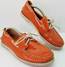 Sperry Top-Sider Women's Size 11 Patent Leather Orange Boat Shoes Y97