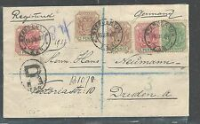TRANSVAAL (P2408B) 1899 5 STAMP REG FRANK TO GERMANY