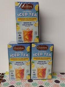 Celestial Seasonings Cold Brew Sweet Iced Tea W/Lemon 54 Total Tea Bags BB 3/23