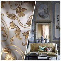 Designer Brocade Satin Fabric - Silver Blue Gold  Floral Upholstery Damask