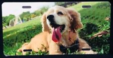 Cocker Spaniel metal license plate tag - cute dog on grass - New sealed