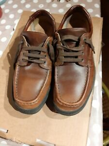 Mens Clarks Brown Leather Cushion Cell Extra Wide Fit Size 7 Shoes
