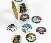Roll of 100 - Christmas Holiday Stickers - Loot Party Bag Fillers