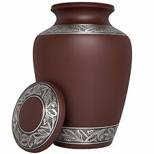 ADULT BROWN CREMATION URNS - FUNERAL URN FOR HUMANS ASHES - BROWN - VAULT - 8001