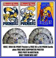 WEST COAST 92,94 WEG GF Poster & FREE 92 & 94 PRE CARD FREE Postage in Australia