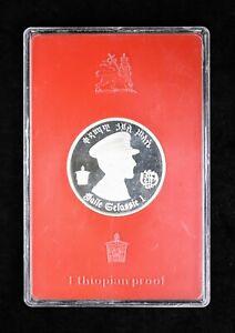 1972 Empire of Ethiopia $5 Birr Dollars Silver Proof Haile Selassie Lion Coin