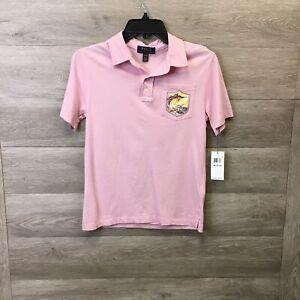 Ralph Lauren Boys Medium 10-12 Pink Montauk Short Sleeve Logo Pocket Polo Shirt