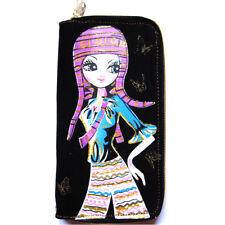 portefeuille porte monnaie femme manga fille bonnet violet fond noir rose bleu