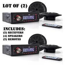 "Lot of (2) Pyle Marine Receivers AM/FM iPod/MP3/USB SD W/ 4 x 120W 5.25"" Speaker"