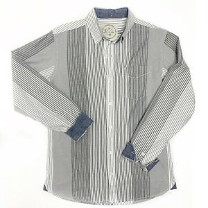 Native Code The Buckle Mens M Long Sleeve Button Up Striped Shirt Flip Cuff Gray