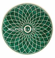 "24"" Malachite Green Marble Center Table Top Handmade Inlaid Work Home Decor"
