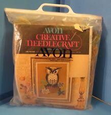 Vintage 1973 Avon Creative Owl Picture Needlepoint Kit Needlecraft